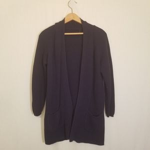 Blue cable knit open cardigan with pockets